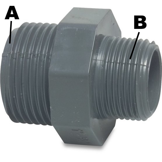 Verloopnippel Druk PVC